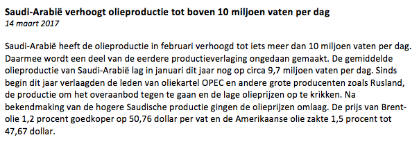 Olie-nieuwsbericht