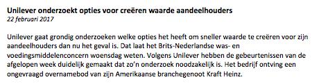 Unilever-nieuwsbericht