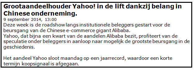 Beleggen via internet in Yahoo 1