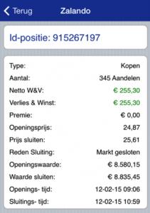 Fictief aandelen kopen Zalando beleggingsoverzicht