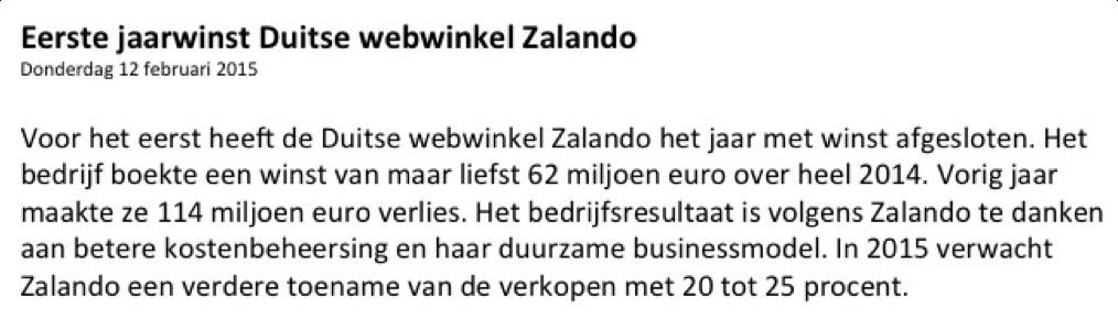 Fictief aandelen kopen Zalando nieuwsbericht