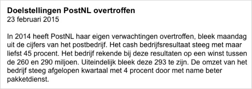 Fictief beleggen PostNL nieuws