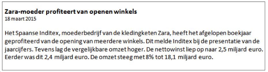 CFD beleggen Inditex nieuwsbericht