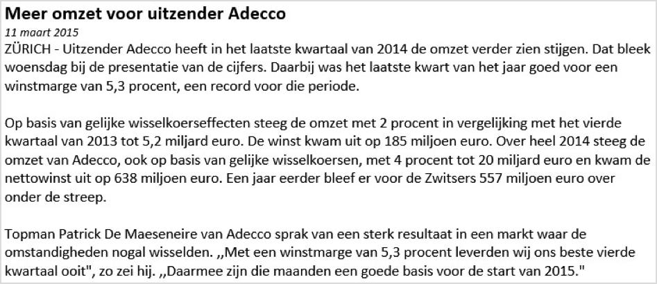 Fictief handelen Adecco nieuwsbericht