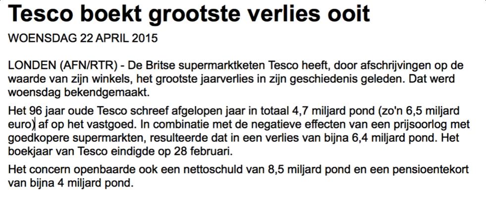 Nieuwsbericht handelen in aandelen Tesco