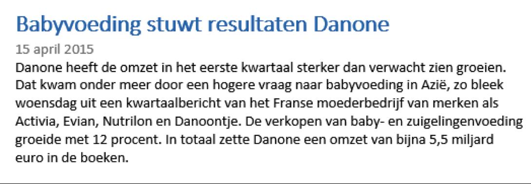 Nieuwsbericht beleggingservaring met Danone