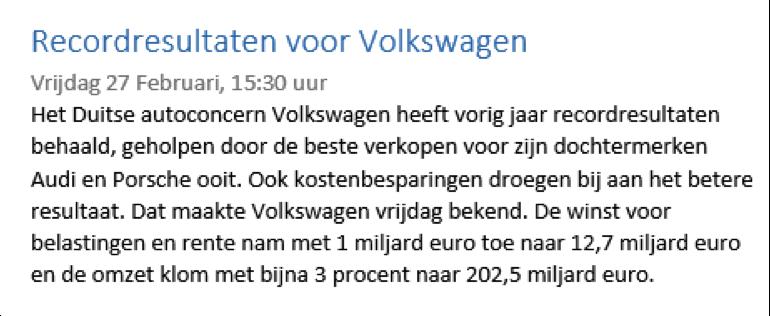 Positief nieuwsbericht voor handelen in aandelen Volkswagen