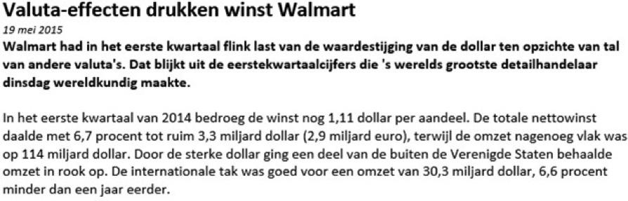 Nieuwsbericht bij daytraden met aandelen Walmart