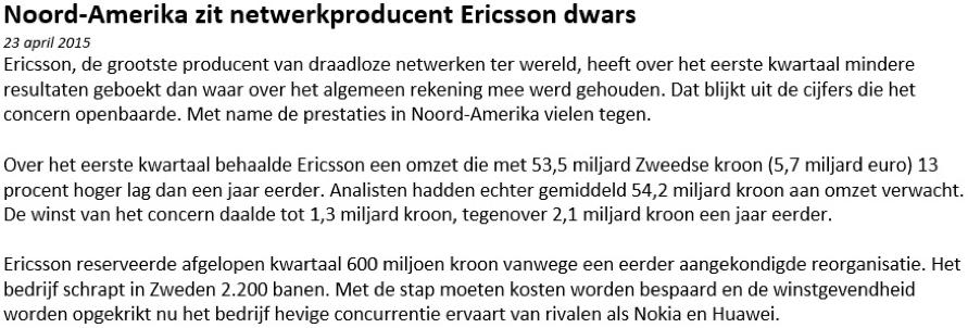 Nieuwsbericht bij hoe online beleggen in Ericsson