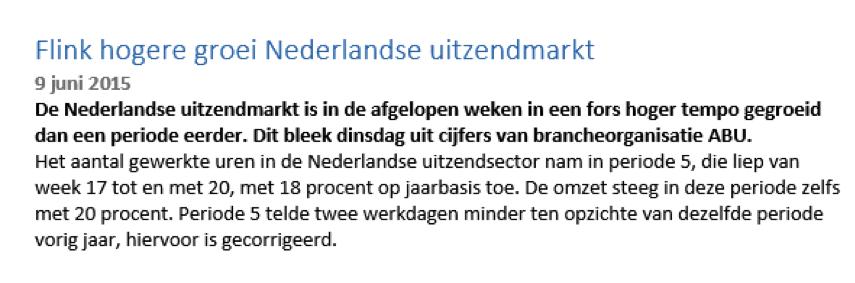 Nieuwsbericht bij succesvol handelen in Randstad