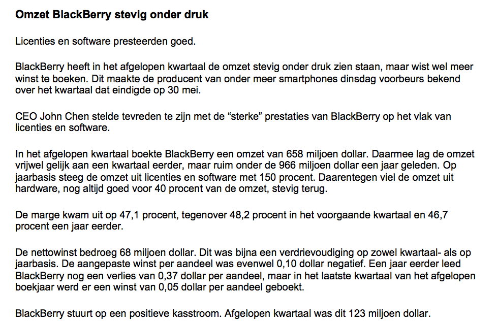 Nieuwsbericht bij beginnen met beleggen in Blackberry