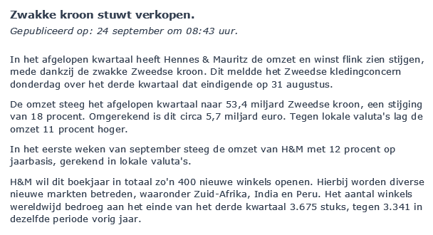 Aandelen verhandelen van H&M Nieuwsbericht