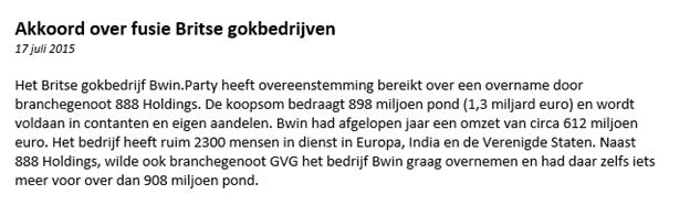 Aandelen kopen en verkopen Bwin nieuwsbericht