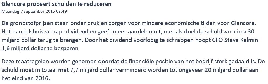 Thuis beleggen met 400 euro Glencore nieuwsartikel