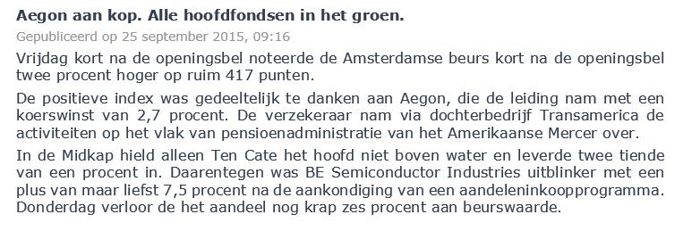 Verstandig aandelen kopen Aegon Nieuwsbericht