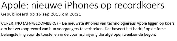 Mobiel beleggen in Apple Nieuwsbericht
