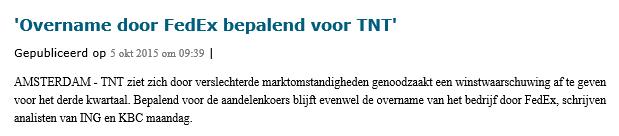 Online aandelen verhandelen van TNT Express Nieuwsbericht 2