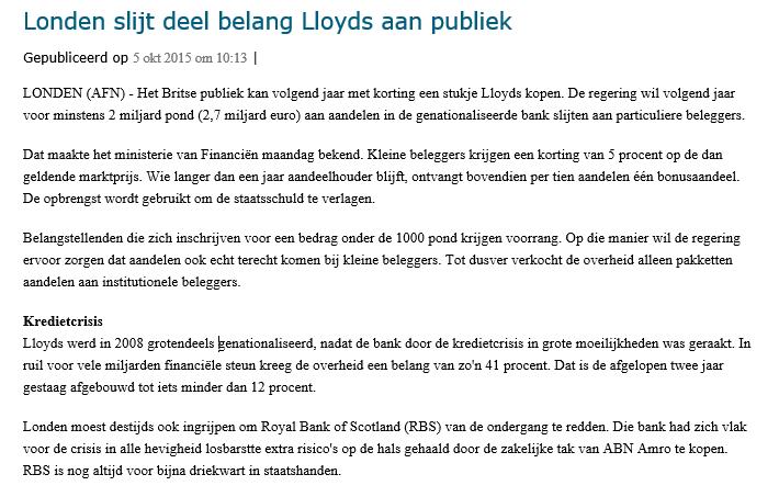 Online beleggen op de beurs in Lloyds Nieuwsbericht