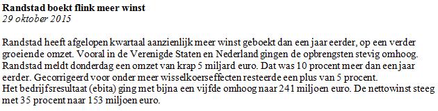 Figuur 2: Beleggen op Randstad – Nieuwsbericht. Klik om te vergroten.