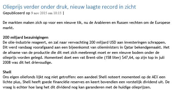 Figuur 1: Beginnen met beleggen in olie – Nieuwsbericht. Klik om te vergroten.