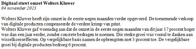 Figuur 2: Beleggen via internet op Wolters Kluwer – Nieuwsbericht. Klik om te vergroten.