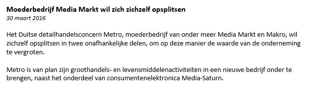 Nieuwsbericht Metro