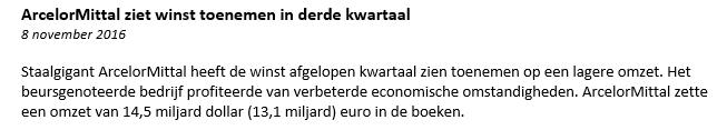 ArcelorMittal nieuwsbericht