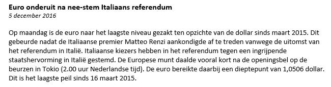EUR USD nieuwsbericht